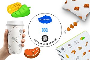 BBQ icons set, cartoon style