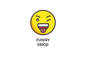 funny emoji vector line icon, sign, illustration on background, editable strokes