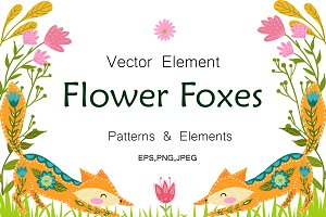 Vector Flower Foxes