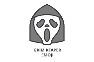 grim reaper emoji vector line icon, sign, illustration on background, editable strokes