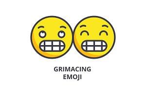 grimacing emoji vector line icon, sign, illustration on background, editable strokes