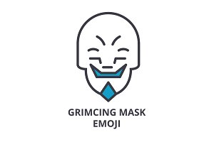 grimacing mask emoji vector line icon, sign, illustration on background, editable strokes