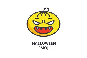halloween emoji vector line icon, sign, illustration on background, editable strokes
