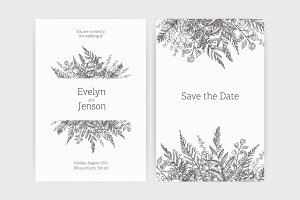 Invitation with wild herbs, ferns