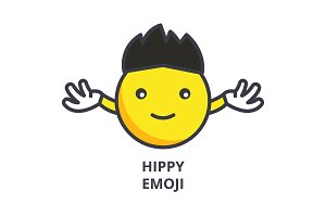 hippy emoji vector line icon, sign, illustration on background, editable strokes