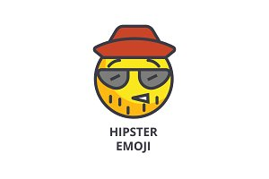 hipster emoji vector line icon, sign, illustration on background, editable strokes