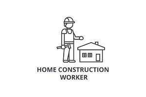 home construction worker vector line icon, sign, illustration on background, editable strokes
