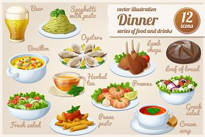 Set of food icons. Dinner.