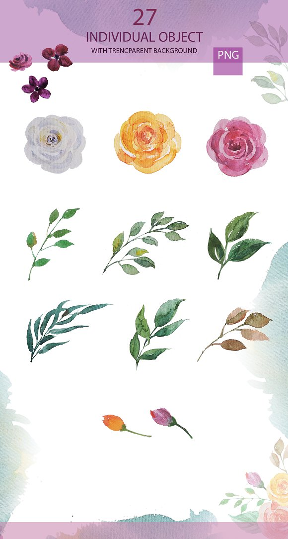Wedding Watercolor Invitation card  in Illustrations - product preview 2