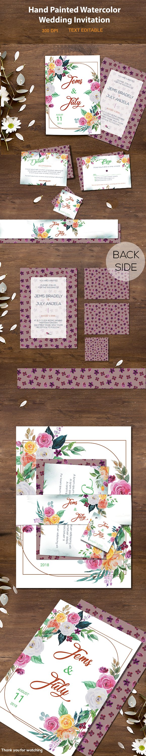 Wedding Watercolor Invitation card  in Illustrations - product preview 4