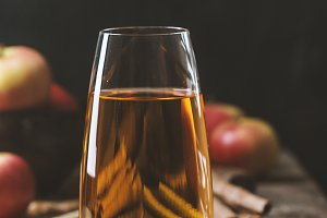 Glass of fresh apple juice