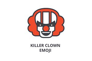 killer clown emoji vector line icon, sign, illustration on background, editable strokes