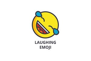 laughing cute emoji vector line icon, sign, illustration on background, editable strokes