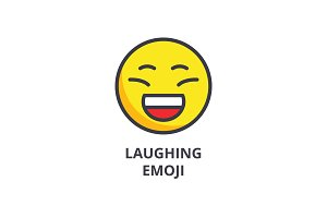 laughing emoji vector line icon, sign, illustration on background, editable strokes