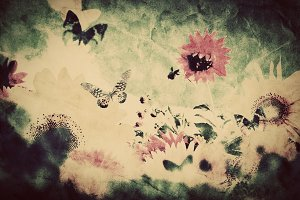Vintage image of flowers & butterfly