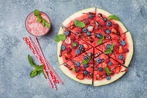 colorful watermelon pizza