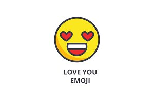 love you emoji vector line icon, sign, illustration on background, editable strokes