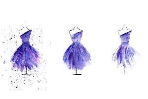 tailor dolls in a watercolor dress