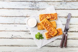 Golden fried fish fingers