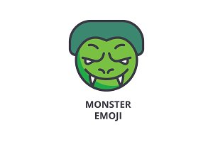 monster emoji vector line icon, sign, illustration on background, editable strokes