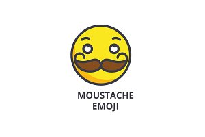moustache emoji vector line icon, sign, illustration on background, editable strokes