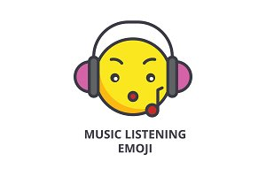 music listening emoji vector line icon, sign, illustration on background, editable strokes
