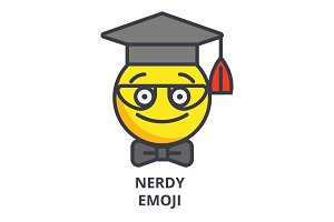 nerdy student emoji vector line icon, sign, illustration on background, editable strokes