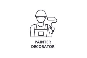 painter decorator vector line icon, sign, illustration on background, editable strokes
