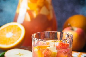 Sangria or punch with fruits