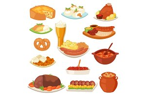 German food vector traditional cuisine of German and cooked meat meal sausages for dinner or lunch illustration set of bavarian snack and beer isolated on white background