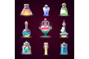 Magic bottle vector magical game potion in glass or liquid poison drink of alchemy or chemistry illustration set of magnificent elixir in phial isolated on background