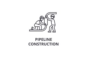 pipeline construction vector line icon, sign, illustration on background, editable strokes