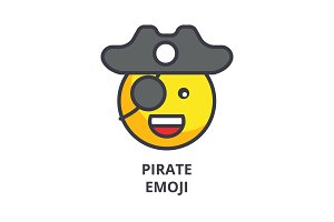 pirate emoji vector line icon, sign, illustration on background, editable strokes