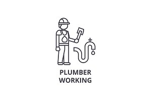 plumber working vector line icon, sign, illustration on background, editable strokes