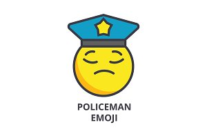 policeman emoji vector line icon, sign, illustration on background, editable strokes