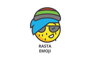 rasta emoji vector line icon, sign, illustration on background, editable strokes