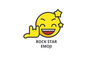 rock star emoji vector line icon, sign, illustration on background, editable strokes