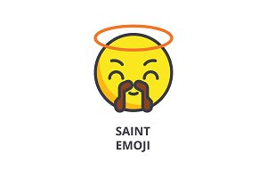 saint emoji vector line icon, sign, illustration on background, editable strokes