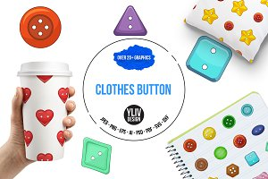 Clothes button icons set, cartoon st