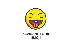 savoring food emoji vector line icon, sign, illustration on background, editable strokes