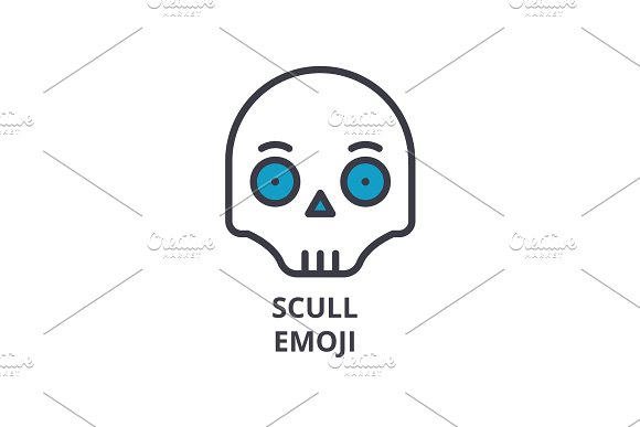 scull emoji vector line icon, sign, illustration on background, editable strokes
