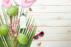 Top view fashion summer background.