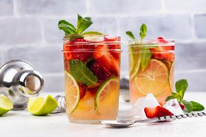 Refreshing summer sangria with strawberry and lime