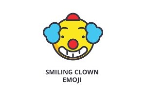 smiling clown emoji vector line icon, sign, illustration on background, editable strokes