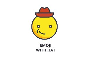 smiling emoji with hat emoji vector line icon, sign, illustration on background, editable strokes