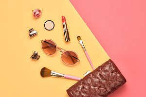 Fashion Cosmetic. Art. Flat lay