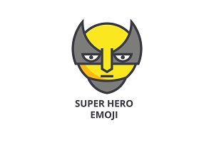 super hero emoji vector line icon, sign, illustration on background, editable strokes
