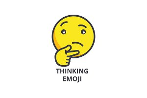 thinking emoji vector line icon, sign, illustration on background, editable strokes