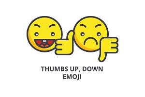 thumbs up, down emoji vector line icon, sign, illustration on background, editable strokes