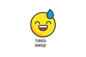 tired emoji vector line icon, sign, illustration on background, editable strokes